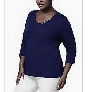 Karen Scott Macy's Plus 3/4 Sleeve Side Button Tee